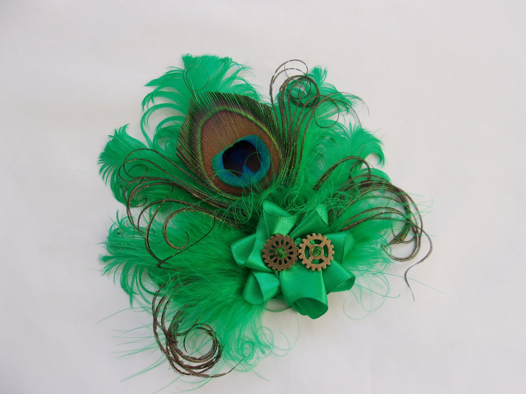 Emerald Steampunk Brooch - Bright Absinthe Green Feather Satin Ruffle with Brass Cogs Wedding Grooms Corsage Buttonhole Boutonniere Hair Clip Hat Accessory