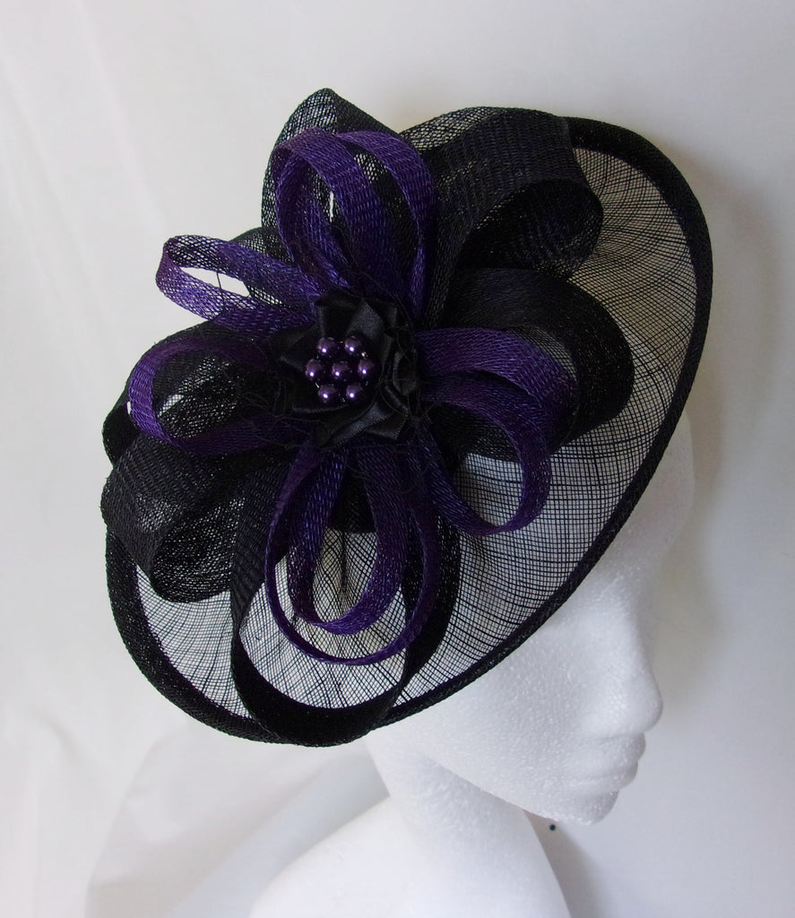 Black and Dark Purple Hat - Sinamay Loops & Pearls Saucer Fascinator Formal Wedding Derby Ascot - Made to Order