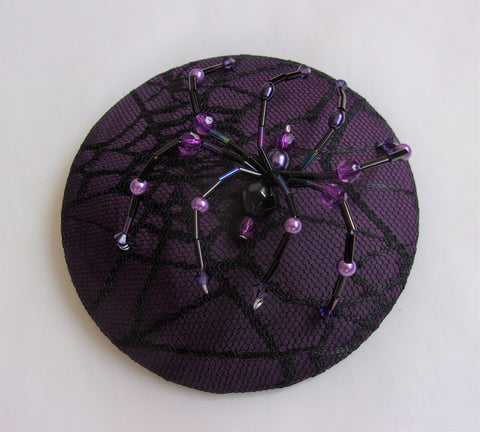 Aubergine & Black Crystal Spider Cobweb Cocktail Hat Fascinator Mini Headpiece Eggplant Purple - Gothic Halloween Wedding- Ready Made