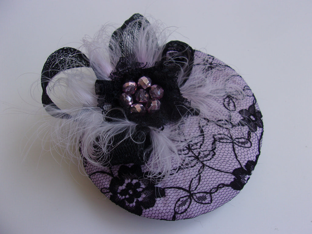 Lavender Lilac and Black Lace Cocktail Percher Hat Fascinator Feathers Crystals Mini Headpiece - Wedding Vintage - Ready Made