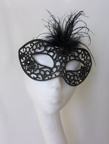 Black Glitter Mask Bespoke Gothic Halloween Masquerade - Bride Goth Wedding Raven Costume Fancy Dress - Ready Made