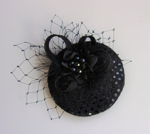 Black Sequin Cocktail Hat Small Elegant Percher Fascinator Mini Headpiece Veiling Crystals Sparkle - Gothic Halloween Wedding- Ready Made