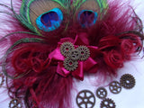 Small & Dainty Dark Burgundy Marsala Wine Peacock Feather Steampunk Vintage Mini Hair Clip Fascinator with Brass Cogs - Made to Order