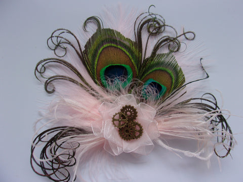 Small and Dainty Pale Blush Baby Pink Peacock Feather Organza & Brass Steampunk Cog Vintage Hair Clip Fascinator- Made to Order