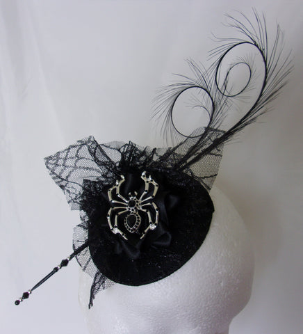694b0ab5e12 ... Black Gothic Fascinator with Pretty Cobweb Lace Curl Feather and Silver  Spider Brooch Percher Wedding Halloween ...