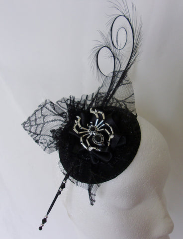 342b4dba819 ... Black Gothic Fascinator with Pretty Cobweb Lace Curl Feather and Silver  Spider Brooch Percher Wedding Halloween