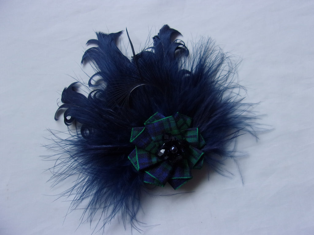 Navy Blue Feather Brooch Corsage with Black Watch Scottish Tartan Plaid - Burns Night - Ready Made