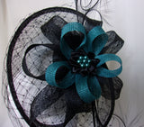 Black & Teal Petrol Blue Dramatic Merry Widow Veiled Cecily Formal Saucer Wedding Gothic Fascinator Headpiece Hat - Made to Order