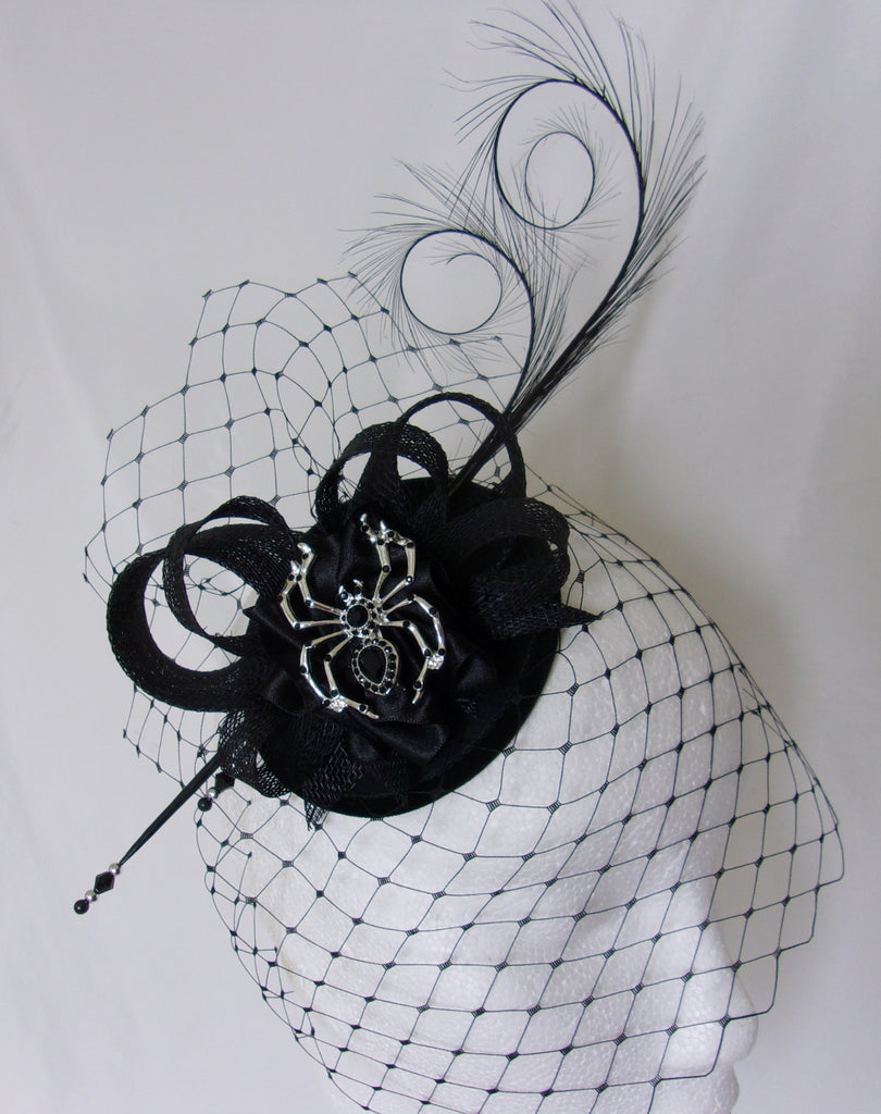 Halloween Black Widow Mini Black Fascinator Hat With Feathers /& Clip Fancy Dress
