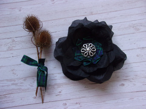 Black Watch Tartan Plaid Black Rose Celtic Brooch Corsage Buttonhole Wedding