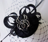 Black Gothic Fascinator with Blusher Veil Pheasant Curl Feathers Sinamay & Silver Spider Brooch Halloween Wedding Mini Hat - Made to Order