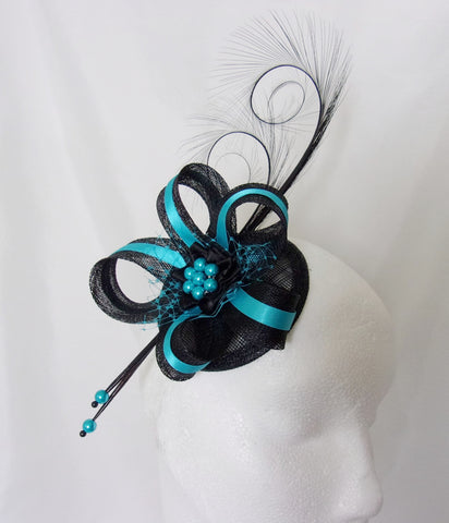 Black & Turquoise Blue Pheasant Curl Feather Sinamay and Pearl Isabel Gothic Wedding Fascinator Mini Hat - Made to Order