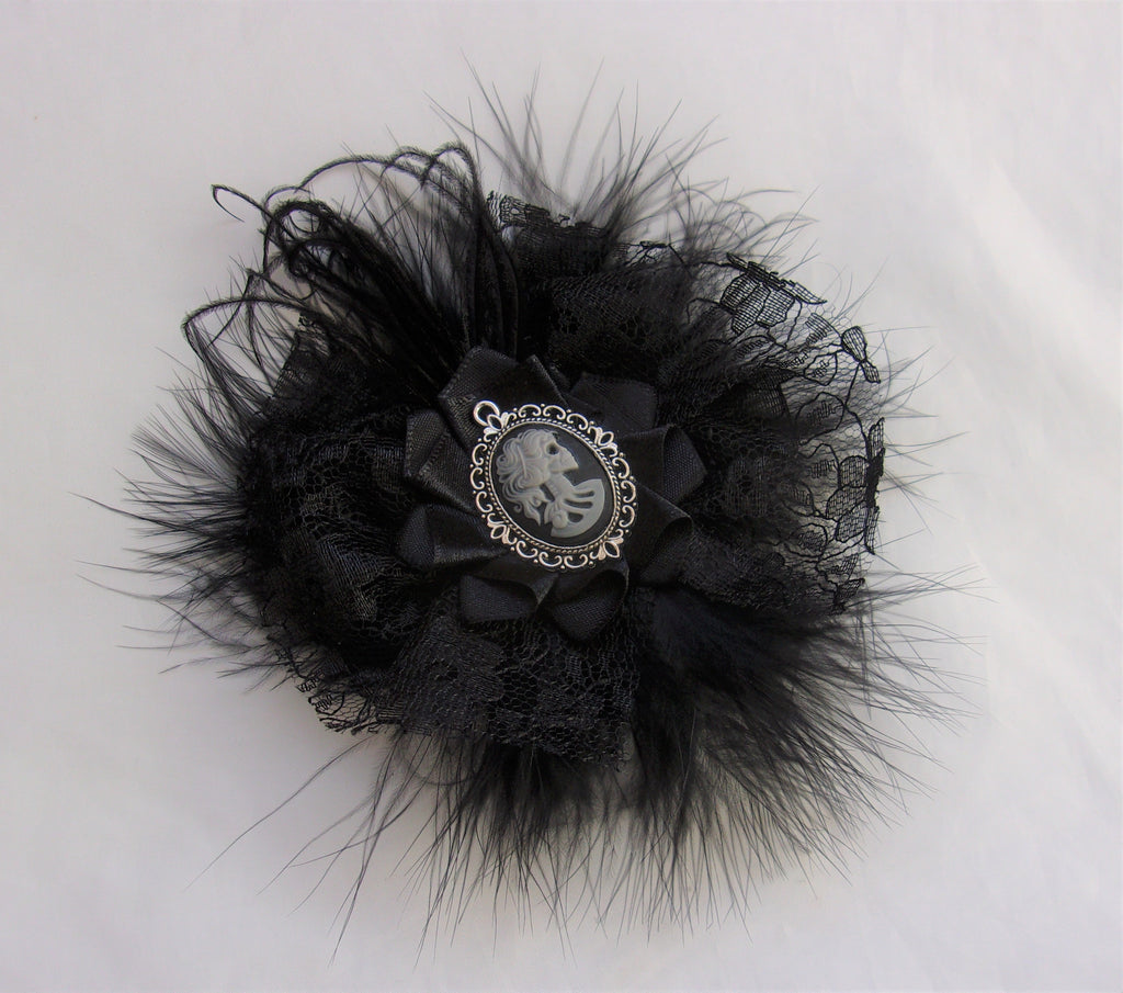 Black Victorian Gothic Cameo Brooch with Feathers Lace Skeleton Girl Corsage Buttonhole Boutonniere Goth Wedding - Ready Made