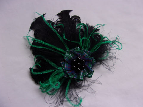 Black and Emerald Green Feather Brooch Corsage with McKenzie Scottish Tartan Plaid - Burns Night - Ready Made