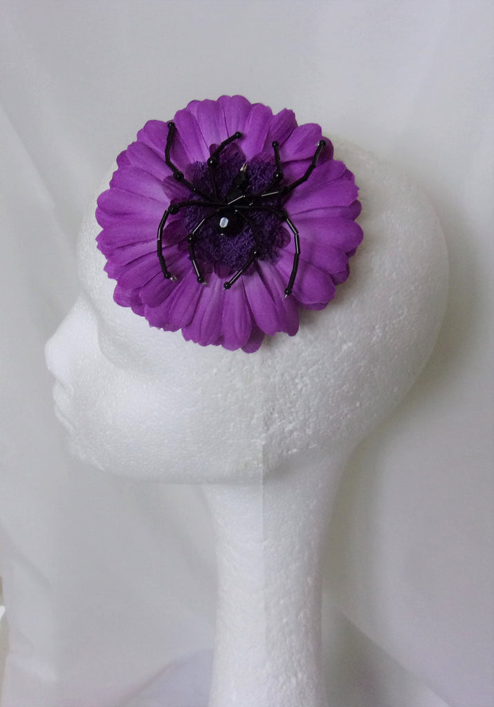 Ultraviolet Purple Flower Black Spider Hair Clip Fascinator Wedding Halloween
