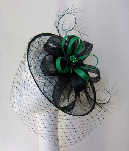 Black & Emerald Green Dramatic Merry Widow Veiled Cecily Formal Saucer Wedding Gothic Fascinator Headpiece Hat - Made to Order