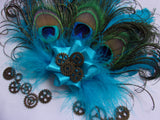 Turquoise Lagoon Azure Blue Shades Peacock & Curled Goose Feather Brass Cogs Steampunk Mini Fascinator Hair Clip Headpiece - Made to Order