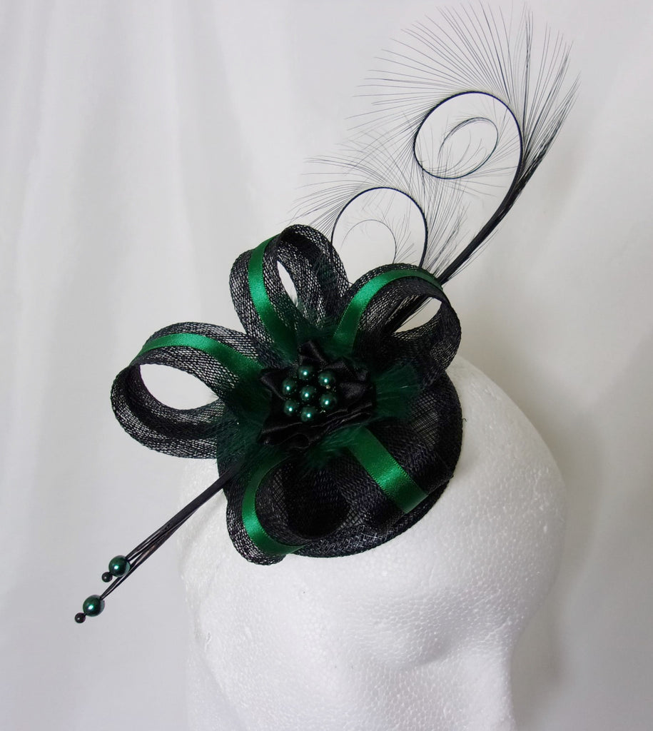 Black & Deep Emerald Bottle Green Pheasant Curl Feather Sinamay and Pearl Isabel Gothic Wedding Fascinator Mini Hat - Made to Order