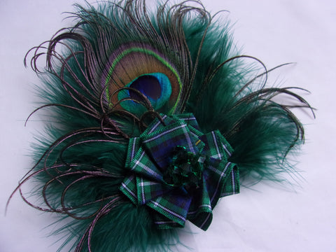 Bottle Green Peacock Feather Brooch Corsage with Campbell Scottish Tartan Plaid - Burns Night - Ready Made