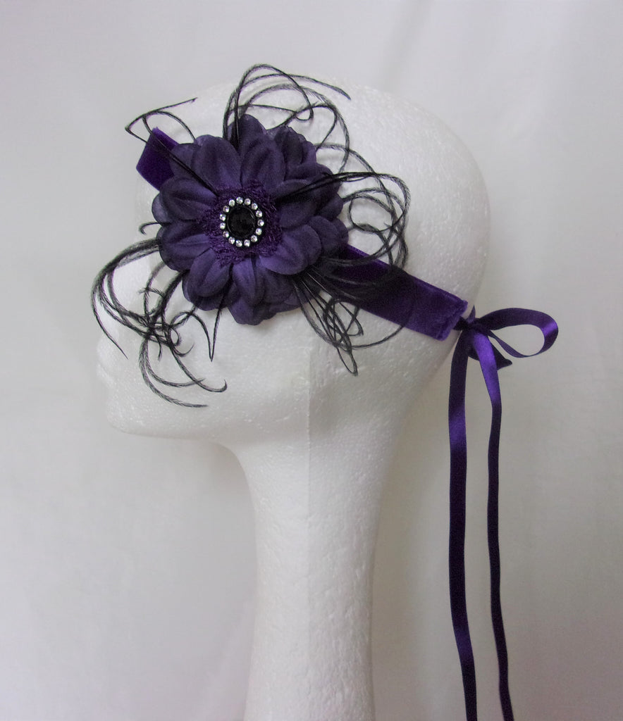 Dark Purple and Black Flower Vintage Flapper Headband