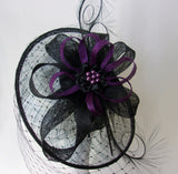 Black & Dark Purple Dramatic Merry Widow Veiled Cecily Formal Saucer Wedding Gothic Fascinator Hat