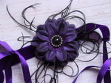 Dark Purple and Black Flower Vintage Flapper Headband peaky blinders wedding