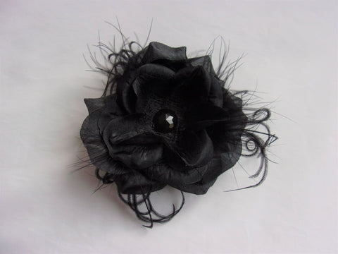 Black Rose Flower Hair Clip Accessory Wedding Pin Up Hair Flowers - Halloween Gothic Wedding Hat Clips - Ready Made