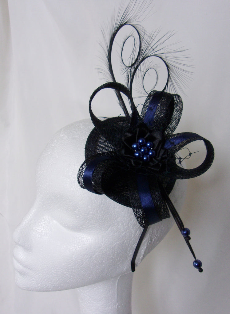 Black & Deep Navy Marine Blue Pheasant Curl Feather Sinamay and Pearl Gothic Steampunk Burlesque Wedding Fascinator Mini Hat - Made to Order