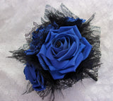 Cobalt Blue and Black Rose Bouquet - Lace and Feather Sapphire Brides Vintage Wedding Gothic Halloween Posy - Ready Made