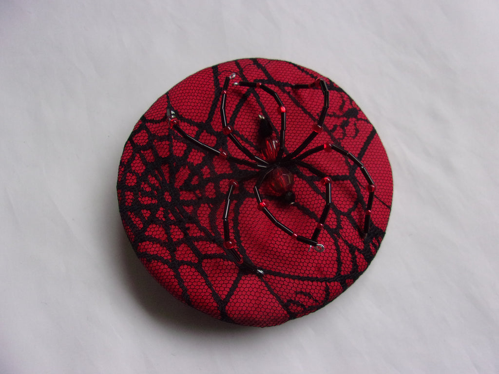 Bright Red & Black Crystal Spider Cobweb Cocktail Hat Fascinator Mini Headpiece - Gothic Halloween Wedding- Ready Made