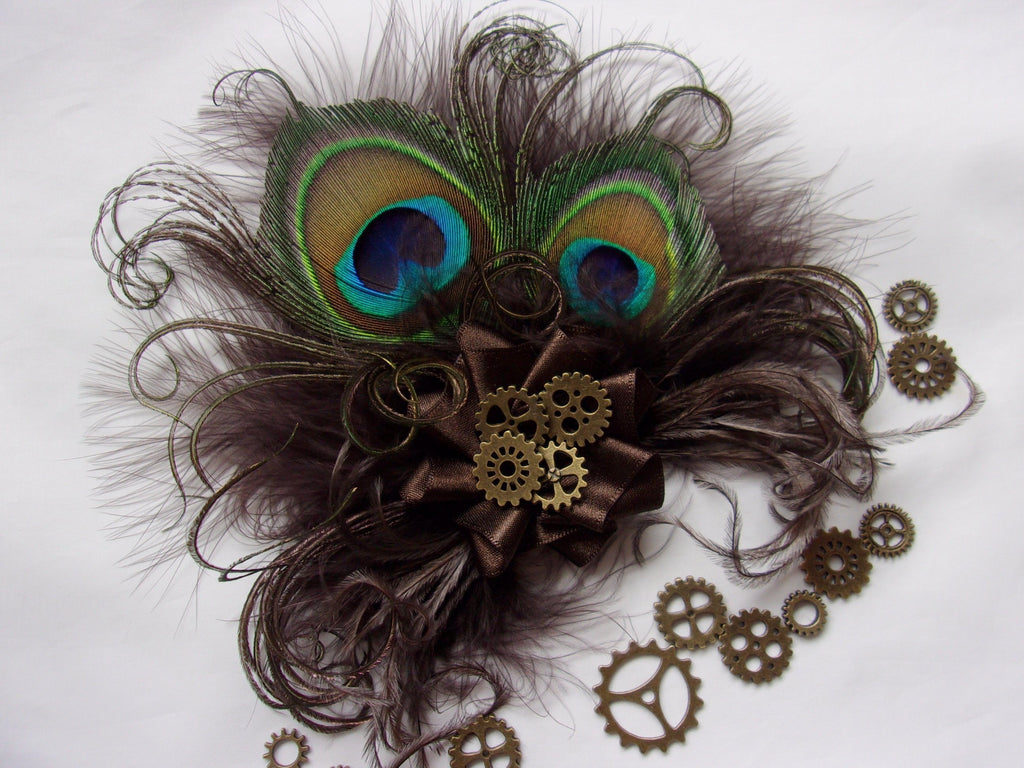 Small and Dainty Dark Chocolate Bronze Mocha Brown Peacock Feather and Brass Cogs Steampunk Mini Fascinator Hair Hat Clip