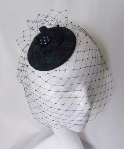 Black Watch Tartan Veil Fascinator - Navy Blue Merry Widow Blusher Veil Clip In Headpiece -Scottish Wedding Burns Night - Ready Made