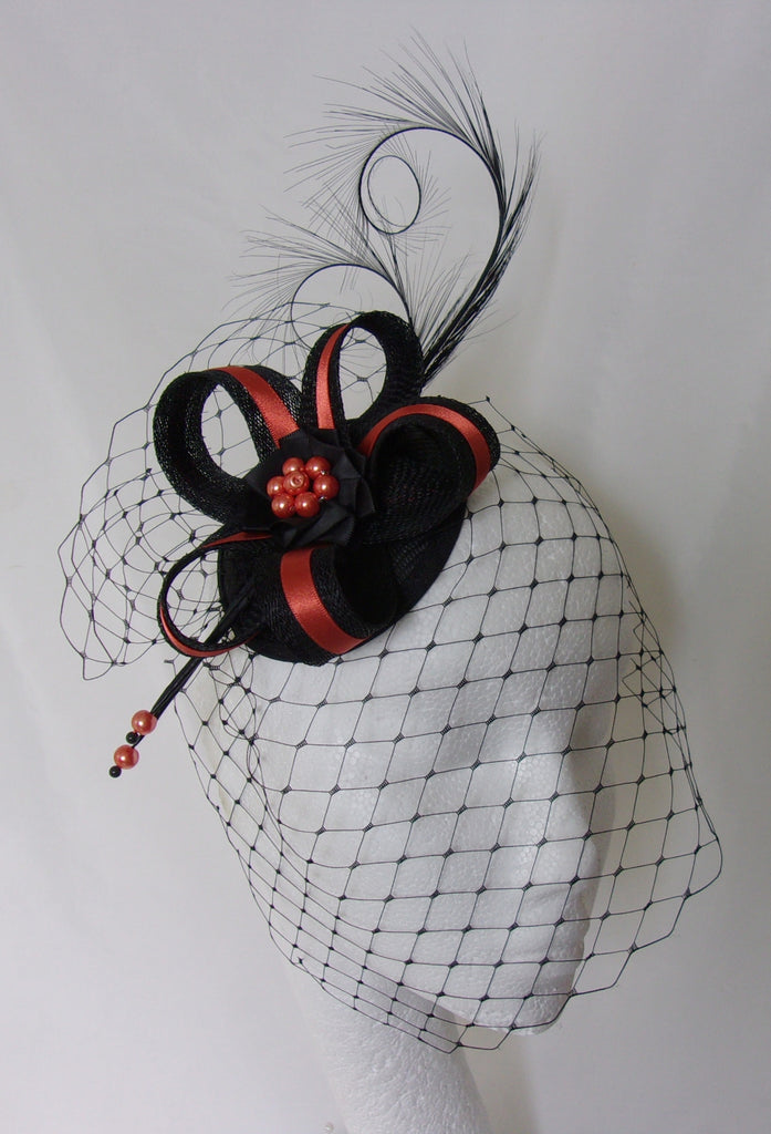 d5f0c989e50 Burnt Orange Terracotta and Black Veiled Fascinator with Pheasant Curl  Feathers Sinamay   Pearls Wedding Mini