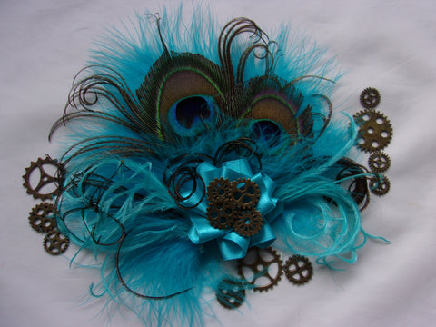Turquoise Lagoon Blue Steampunk Peacock Feather & Brass Cogs Mini Fascinator Wedding Cosplay Hair Hat Clip- Made to Order