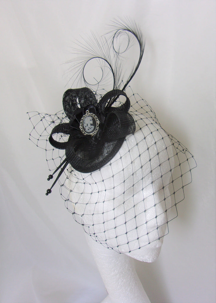 Black Skeleton Cameo Hat - Gothic Victorian Spooky Halloween Elegant Sinamay & Feather Fascinator Wedding Headpiece - Made to Order
