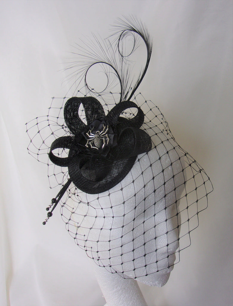 Black Spider Cocktail Hat - Gothic Spooky Halloween Elegant Sinamay & Feather Fascinator Wedding Headpiece - Made to Order