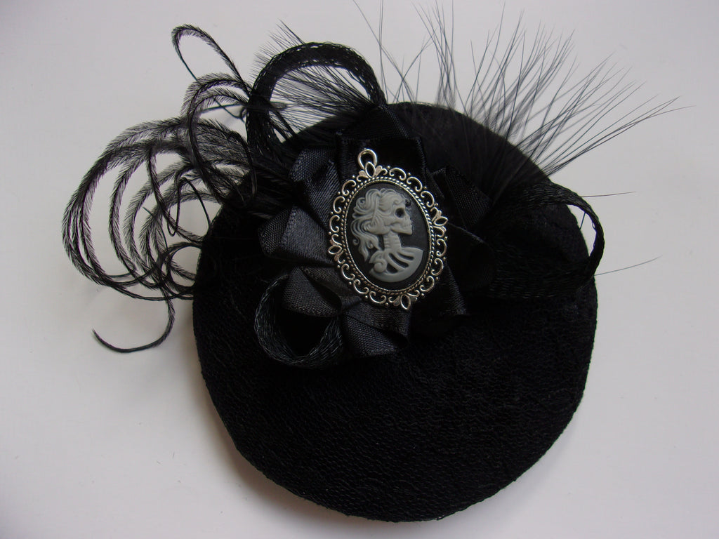 Black Gothic Cocktail Hat Small Elegant Victorian Goth Skeleton Girl Cameo Feathers Fascinator - Halloween Wedding- Made to Order