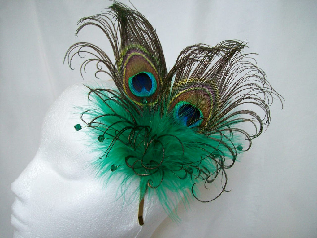 Emerald Absinthe Green Peacock Feather & Crystal Burlesque Vintage Wedding Fascinator Headpiece - Gothic Diva Wedding Designs