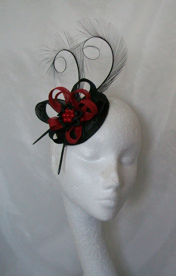 Red & Black Delilah Gothic Glam- Pheasant Curl Feather & Sinamay Loop Fascinator Mini Hat - Gothic Diva Wedding Designs