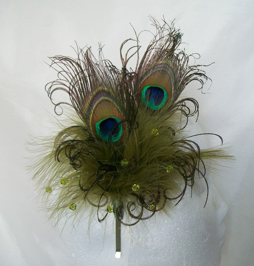 Olive Khaki Green Peacock Feather & Crystal Burlesque Vintage Wedding Fascinator Headpiece - Gothic Diva Wedding Designs