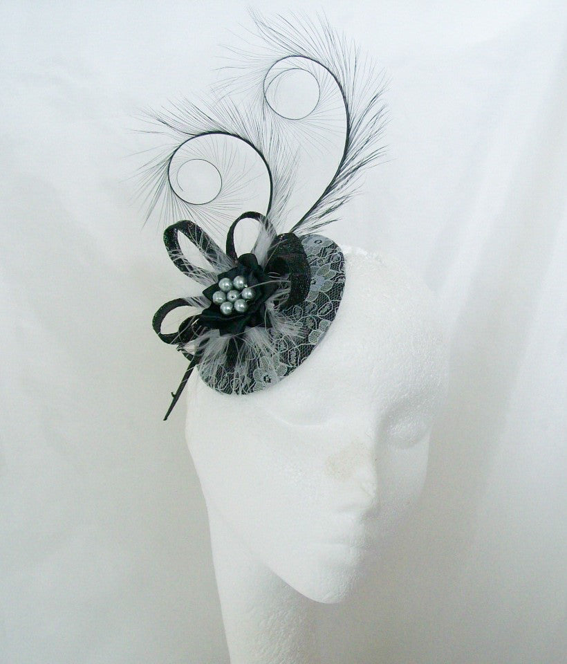 Black & Silver Grey Lace Covered Isadora Curl Feathers & Pearl Pastel Goth Fascinator Mini Hat - Gothic Diva Wedding Designs