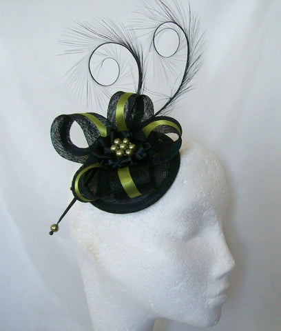 Black & Olive Green Pheasant Curl Feather Isabel Fascinator Mini Hat - Gothic Diva Wedding Designs