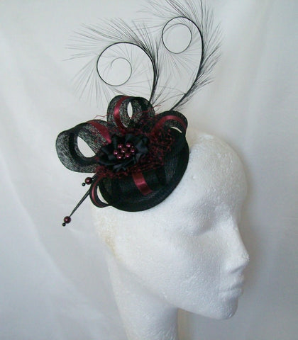 Black & Burgundy Pheasant Curl Feather Sinamay & Pearl Isabel Wedding Fascinator Mini Hat - Gothic Diva Wedding Designs