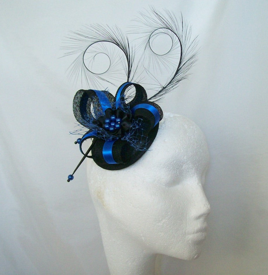 Black & Royal Cobalt Blue Pheasant Curl Feather Sinamay and Pearl Isabel Wedding Fascinator Mini Hat