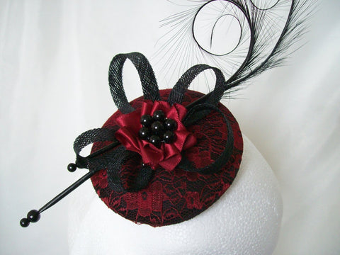 Black & Ruby Red Lace Covered Isadora Curl Feather Vintage Gothic Style Fascinator Mini Hat - Gothic Diva Wedding Designs