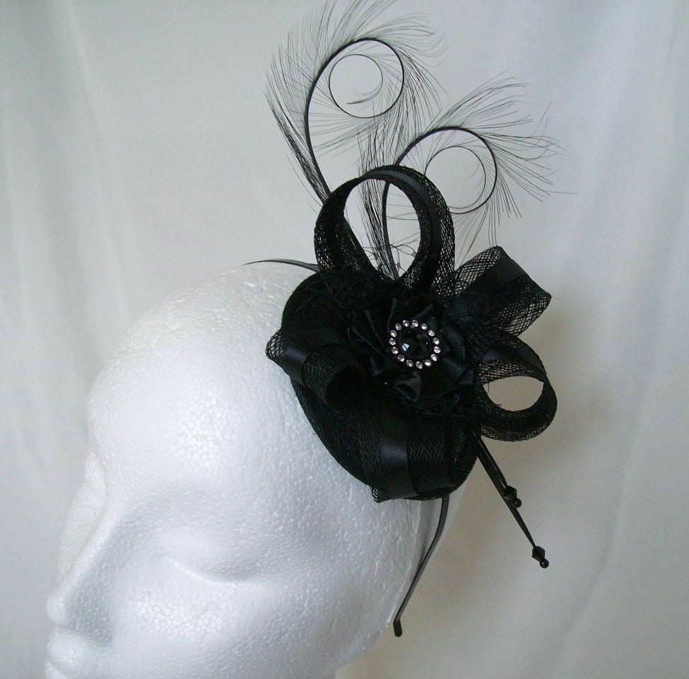 Black Isabel - Satin & Sinamay Contrast Curl Feather Gothic Wedding Fascinator Mini Hat - Gothic Diva Wedding Designs
