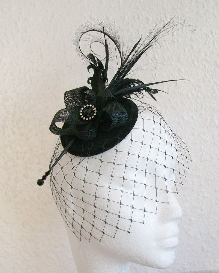 Black Rosalind - Mixed Feather Plume & Crystal Elegant Gothic Vintage Percher Fascinator Mini Hat - Gothic Diva Wedding Designs