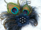 Midnight Navy Blue Small Peacock Feather & Crystal Vintage Mini Fascinator Hair Clip - Gothic Diva Wedding Designs