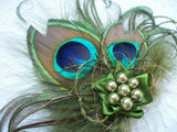 Olive Khaki Green Small Peacock Feather & Pearl Vintage Mini Fascinator Hair Clip - Gothic Diva Wedding Designs