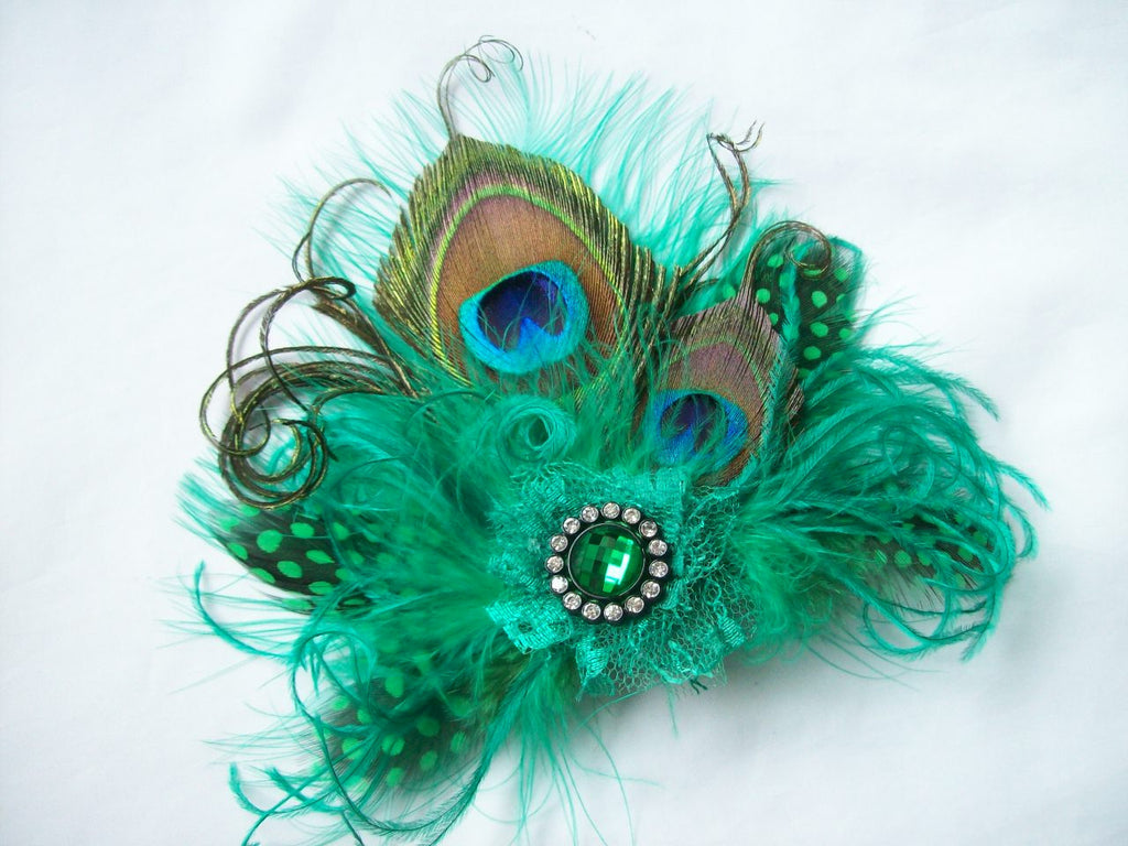Emerald Green & Black Small Peacock Feather & Crystal Mini Fascinator Hair Clip - Gothic Diva Wedding Designs
